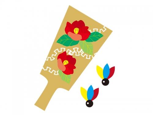 羽子板の年賀状イラスト