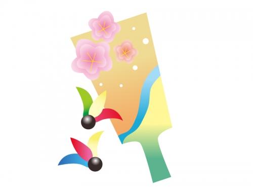 梅の羽子板の年賀状・お正月イラスト