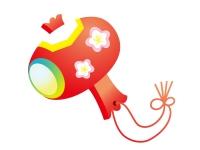 赤い小槌の年賀状イラスト
