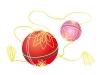 赤とピンク色の毬の年賀状イラスト