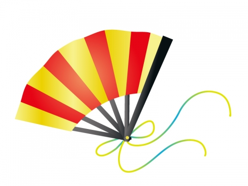 赤と黄色の扇子の年賀状イラスト