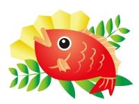 真っ赤な鯛(タイ)の年賀状イラスト