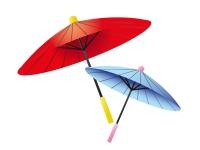 赤と青色の番傘の年賀状イラスト