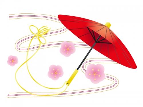 赤い番傘と梅の花の年賀状イラスト