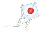 日の丸の凧の年賀状イラスト