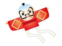 お正月の定番やっこ凧の年賀状イラスト