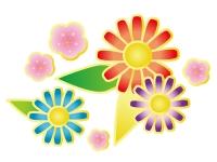 梅とカラフルな花の年賀状イラスト
