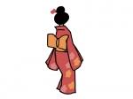着物姿の女性の後ろ姿の年賀状イラスト