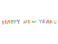 かわいいHappyNewYearの文字の年賀状イラスト02