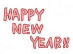 かわいいHappyNewYearの文字の年賀状イラスト04