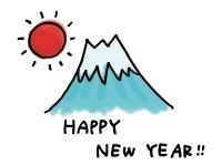 HappyNewYearの文字と富士山の年賀状イラスト