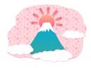 かわいい花柄背景の富士山の年賀状イラスト