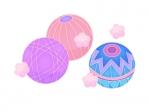 水色とピンク色の毬の年賀状イラスト02