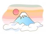 筆で描いたような富士山と初日の出の年賀イラスト