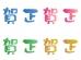 和風色のスタンプ風の賀正文字の年賀イラスト02