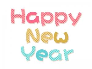 チェック柄のhappy New Yearの年賀イラスト 年賀状の無料テンプレート