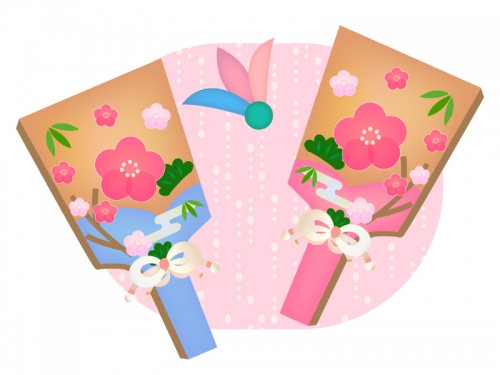 梅の羽子板の年賀状・お正月イラスト02