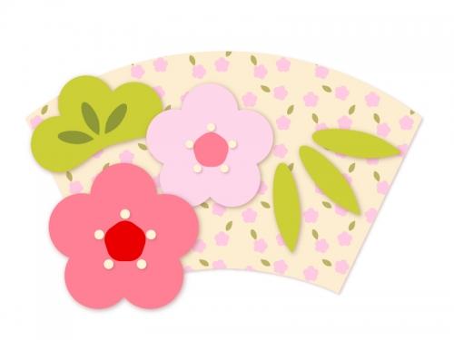 花柄地紙に松竹梅の年賀イラスト