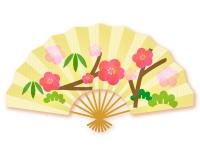 松竹梅の扇子の年賀状イラスト