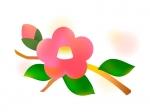 水彩風な椿の年賀イラスト