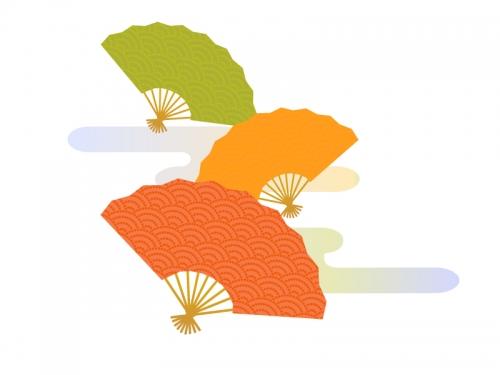 青海波模様の扇子三色の年賀イラスト