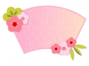 霰模様ピンク色の地紙と梅の花の年賀イラスト
