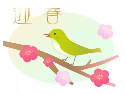 鶯と梅の年賀イラスト