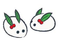 雪うさぎの年賀状・お正月イラスト02