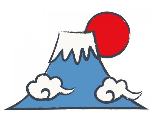 日の出と富士山の年賀状イラスト02