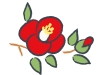 真っ赤な椿の年賀状イラスト02