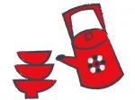 赤い盃のお正月・年賀状イラスト