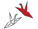 紅白のツルの折り紙の年賀状イラスト