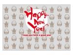 折り鶴とだるまと「HappyNewYear」の年賀状はがきテンプレート