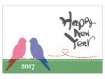 シンプルな二羽の小鳥のシルエットの年賀状はがきテンプレート