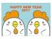 二羽のポップな酉と「HappyNewYear」の年賀状はがきテンプレート