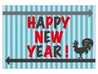 風見鶏のシルエットと「HappyNewYear」の年賀状はがきテンプレート02