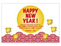 金色の千鳥と「HappyNewYear」の年賀状はがきテンプレート