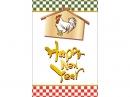 絵馬の酉と「HappyNewYear」の年賀状はがきテンプレート