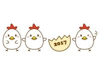 三匹のかわいいニワトリの年賀状イラスト
