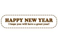 吹き出し風の「HAPPY NEW YEAR」の年賀イラスト