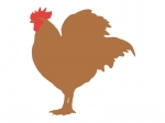 茶色いニワトリのシルエットの年賀状イラスト