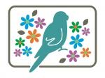 小鳥と花のシルエットの年賀状イラスト