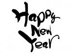 筆書きの「HAPPY NEW YEAR」の年賀イラスト