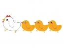 親鳥とヒヨコのかわいい年賀状イラスト
