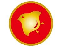 金色の千鳥のエンブレム風の年賀状イラスト