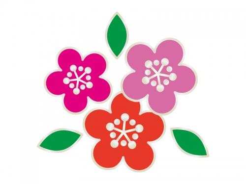 三色の梅の花の年賀状・お正月イラスト02