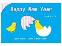 ポップなタッチのヒヨコの年賀状はがきテンプレート