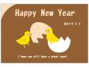 ポップなタッチのヒヨコの年賀状はがきテンプレート02