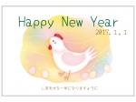 メルヘンタッチのニワトリの年賀状はがきテンプレート