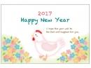 小花とニワトリの年賀状はがきテンプレート